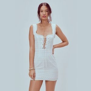 LOOKING TO BUY Charlotte Eyelet Lace Up Mini Dress